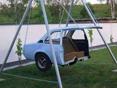 Creative reuse for an old car body! a car swing how awesome .- Creative reuse for an old car body! a car swing how awesome is this love it! Creative reuse for an old car body! a car swing how awesome is this love it! Cool Ideas, Creative Ideas, Diy Ideas, Decor Ideas, Cool Swings, Cool Inventions, Cool Stuff, Random Stuff, Old Cars
