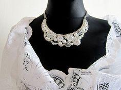 White Statement Necklace Swarovski Pearls Swarovski Wedding