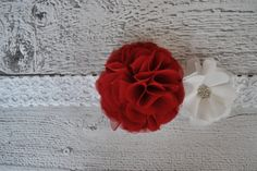 Large Red and White Ruffle Flower Elastic Headband for Babies and Girls