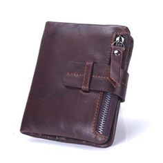 100% Genuine Leather Retro Men Wallets High Quality Famous Brand Hasp Design Male Wallet Card Holder for Men's Purse Carteira