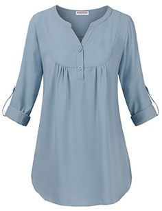 Women's Clothing, Tops & Tees, Henleys, Women's V Neck Casual Chiffon Roll-Up Sleeve Blouse Tops(Runs Small) - Light Brown - Source by zrinecom clothes tops Womens Trendy Tops, Casual Skirt Outfits, Atelier Versace, Roll Up Sleeves, Casual Tops, Blouse Designs, Blouses For Women, Tunic Tops, Fashion Outfits