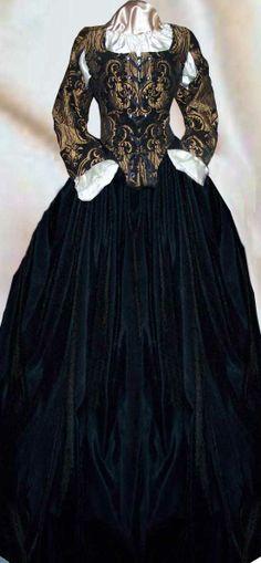 BROCADE CHENLLE VELVET RENAISSANCE FRONT LACE DRESS COSTUME BODICE SKIRT SLEEVES