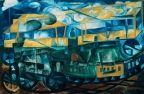The Airplane above the Train - Natalia Goncharova - The Athenaeum