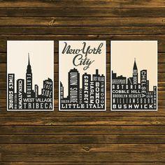 New York City Skyline Poster  Typography Print by GoingUnderground. $70