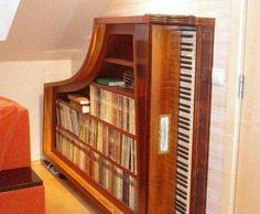 Extraordinary bookcase created from old piano. Rescape.com