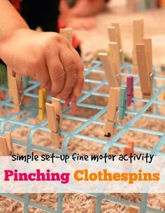 *super* Simple and easy activity to set up! Grab the clothespins! Clothespins Fine Motor Activity