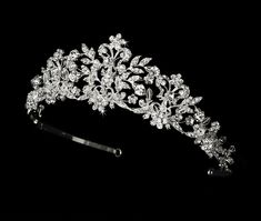 Gorgeous! Couture Silver Crystal and Pearl Bridal and Quinceanera Tiara - on sale now at Affordable Elegance Bridal -