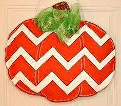 Fall Autumn Chevron Pumpkin Burlap Door Hanger Decoration HUGE - Halloween on Etsy, $35.00
