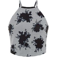 Blue Floral Stripe Rib High Neck Crop Top ($20) ❤ liked on Polyvore featuring tops, tank tops, floral top, striped top, black top, floral crop top and crop top