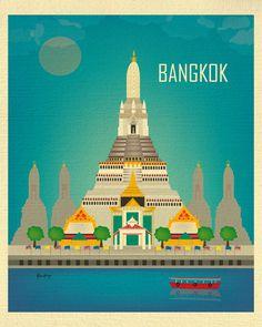 Bangkok Skyline Art Print, Wat Arun Thailand Travel Poster, Bangkok map print, Vertical Wall Art Thai Art Gifts, Loose Petals style E8-O-BAN
