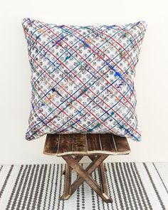 Multi Color Hand Block Print Art Silk Embroidery 100/% Cotton Textured Hand Woven Dhurrie Cushion Cover