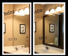 DIY Framing a bathroom mirror - such a neat way to customize the BIG ol' basic builder mirror and define the space in a more attractive way! I've seen it done with even thicker wood trimings too to set it off even more!  I like it! Not sure if Jamie will go for it though!...