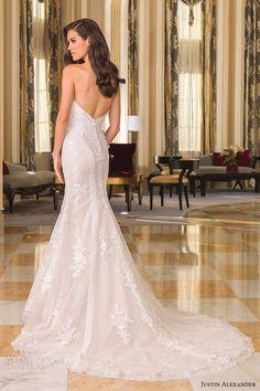 justin alexander bridal fall 2016 strapless sweetheart fit flare wedding dress (8862) bv lowback train