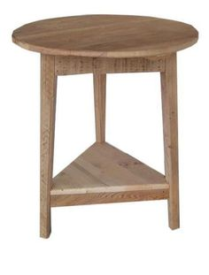 Amish Rustic Barn Wood Round Shaker End Table Rustic style in a round top. Handy barnwood table for living room. Made with real barnwood. #endtables