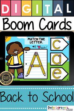 Digital Boom Cards Match the Alphabet -Pencils Kindergarten Reading, Kindergarten Classroom, Classroom Activities, Literacy Stations, Literacy Centers, Word Work Centers, Teaching The Alphabet, Teaching First Grade, Interactive Learning