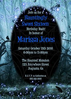 The Haunted Woods with ravens Halloween Themed Party Invitation/ Spooky woods…