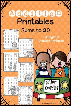 11 adorable worksheets to copy and complete for Addition with sums to 20.