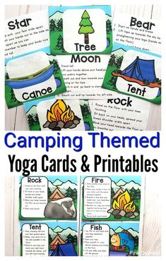 Camping themed yoga cards and printables are perfect brain breaks for the classroom. Kids will love these fun activities to get them moving. Great to do outdoors or indoors. Get the kids thinking about SUMMER! Incorporate these movement cards into the day for preschoolers, kindergartners and up!