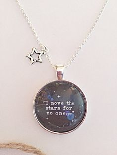 Labyrinth Movie Necklace - Glass Pendant - Labyrinth Necklace - Silver Plated Chain - Quote Necklace
