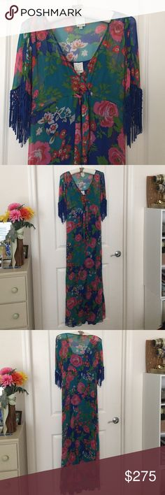 """Kourtney Kardashian's Villa Flora Maxi Dress This dress is in excellent condition and was previously owned by Kourtney Kardashian. I acquired it shortly after Dash Miami opened at a special shopping weekend featuring the sister's personal clothes/styles for charity. Ideal for all seasons and tropical weather! Very boho like Kourtney. No COA, but everything I sell here...as you know...is top-notch and genuine! Tie waist. Fringe. Rayon. Lined. Bust {35"""".} Length {57"""".} Feel free to ask any and…"""