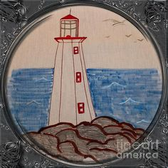 White Lighthouse - Porthole Vignette Drawing by Barbara Griffin