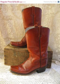 on sale acme dingo mens leather cowboy boots 9 by rivertownvintage, $56.25