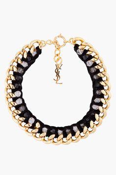 Yves Saint Laurent, black and gold velvet chain necklace