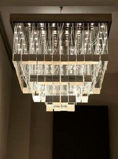 Ochre | Chime | Contemporary LED and fibre optic chandelier in glass with white-gold leaf details