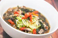 "Zucchini Noodle ""Ramen"" w/Mushroom Miso Broth - Raw Vegan - A Taste of Two Plates"