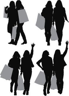 Vectores libres de derechos: Silhouette of female friends with shopping…