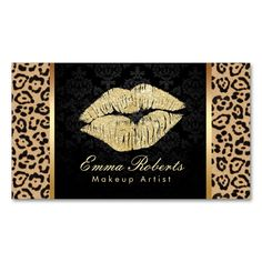 Gold Kiss Leopard Print Damask Makeup Artist Double-Sided Standard Business Cards (Pack Of 100). This is a fully customizable business card and available on several paper types for your needs. You can upload your own image or use the image as is. Just click this template to get started!