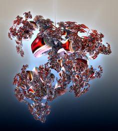 Experimental 3D version of a Julia set generated by a spherical dynamical system. Implementation and Artwork by Dominic Rochon (Metafractals), 2021. #fractalart, #goldenbulb, #juliaset, #mandelbulb, #mb3d