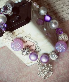 """Chunky Bead Bubblegum Necklace """"Princess in Purple"""" Lavender and Crystal Tiara Crown."""