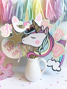 Unicorn Photo Booth Props | Unicorn Party Decor | Unicorn Photo Props | Birthday Party Photo Booth Props | Pastel Party Decor | Rainbow Part by CMCraftStudio on Etsy
