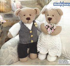 Bride and Groom Teddy Bear Toys Knitting Patterns