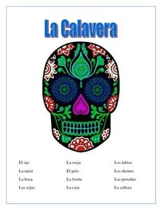 This interactive unit is perfect to be used to teach parts of the face in Spanish.The units contains1- Vocabulary Page- 12 face parts with a word bank2- Label La Calavera - Have students label the face.  Add hair and ears to the drawing.  3- Criss Cross Puzzle- Amazing review of vocabulary & word recognition.