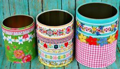 Trio of Upcycled Storage Tins by LemonTreeStudio on Etsy