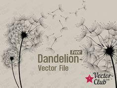 Dandelion - Free Vector File Free Vector Files, Free Vector Graphics, Free Vector Art, Dandelion Pictures, Window Pane Art, Blowing Dandelion, Cricut Air, Doodle Lettering, Free Prints