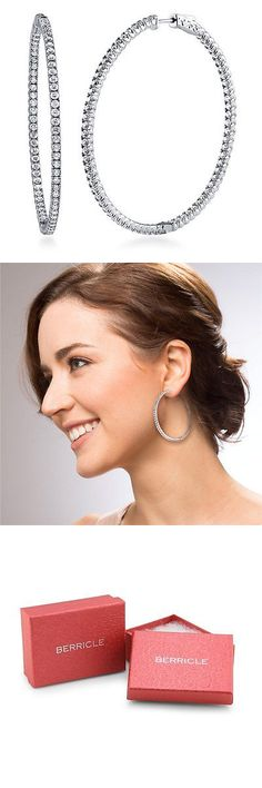 Bridal and Wedding Party Jewelry 164310: Berricle Sterling Silver Cz Fashion Inside-Out Hoop Earrings -> BUY IT NOW ONLY: $99.92 on eBay!