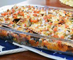 Enchilada-style black bean, sweet potato and kale casserole - Girls Gone Sporty