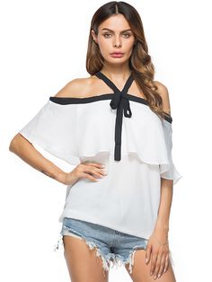 Buy Now (Boat Neck Color Contrast Bow Tie Blouse) from Sheetag - http://www.sheetag.com/product/boat-neck-color-contrast-bow-tie-blouse/