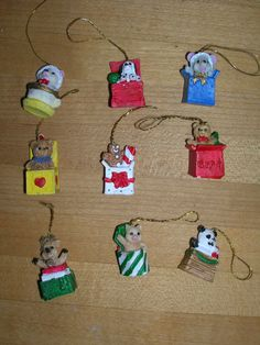 Miniature Set of 9 Vintage Christmas Ornaments by TillyFritz, $5.99