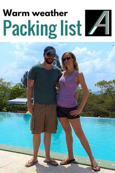 Adoration 4 Adventure's packing list recommendations for warm weather travel for both females and males, to fit into one carry-on suitcase per person.
