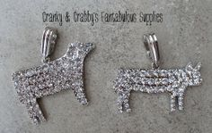 Rhinestone Cow or Pig - 60mm apprx - livestock  - Chunky Necklace