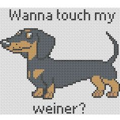 Instantly downloadable digital cross stitch pattern. An adorable dachshund with a dirty little secret.