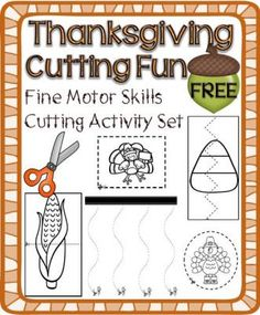 Thanksgiving Cutting Activity Set – Fine Motor Skills Development from A Teacher in Paradise on TeachersNotebook.com -  (15 pages)  - This activity packet includes straight lines, curved lines, zig-zag and other random lines; and make an ideal tool for parents, and teachers who would like to help kids develop their fine motor skills.