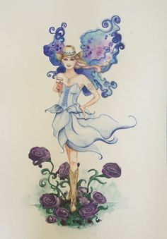 "Original watercolour #painting of #fairy with #blue dress and #wings drinking #beer  #art ""deenoney"