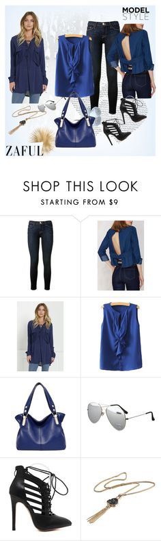 """Blue Style"" by rose-99 ❤ liked on Polyvore featuring Frame Denim, women's clothing, women, female, woman, misses and juniors"