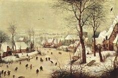 Pieter Brueghel - Paisaje de invierno con patinadores y trampa ...