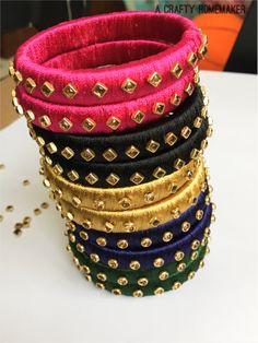 Silk Thread Bangles – A Crafty Homemaker Silk Thread Jhumkas, Silk Thread Bangles Design, Thread Jewellery, Fabric Jewelry, Silk Thread Earrings, Kundan Bangles, Silk Bangles, Bangles Making, Diy Jewellery Making